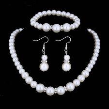 Fashion Bridal Wedding Set Jewelry Crystal Pearl Bracelet Earring Necklace Gift