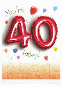 Happy 40th Birthday Greetings Card Balloon Design Age 40 Glossy For Him/Her