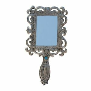 Antique-Mirror-Metal-Make-Up-Decorative-Art-Vanity-Oxidized-White-Hand-Held