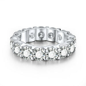 18K White Gold 6.9ct Round Cut Cubic Zirconia Handcrafted Fine Jewelry Band Ring