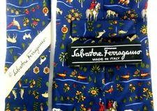 SALVATORE FERRAGAMO ITALY LUXURY DESIGNER MEN'S HUNTING PATTERNED NECK TIE SILK