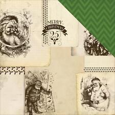 "Carta Bella HAVE A MERRY CHRISTMAS ""Vintage Santas"" 12x12 Paper 2 sheets"