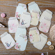 12 x Pretty floral butterfly mason jar card toppers - card making scrapbooking