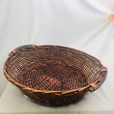 """Large Oval Woven Wicker Basket with Wooden Handles 25"""" X 22"""""""
