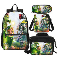 Plants vs. Zombies Backpack Kids 4PCS Game Bag School Bag Set Lunch Bag Gift Lot