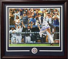 Derek Jeter Signed 16x20 3000 hit photo framed Yankees coin auto MLB Steiner COA