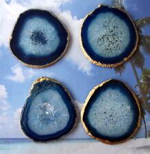 One X Large Blue 18k Gold Leaf Agate Slice Gemstone Coaster Wine Glass Coasters