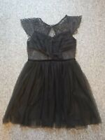 ASOS lace net detailed sheer  Backless off shoulder skater Dress 12 LBD black