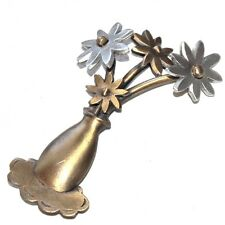 JJ JONETTE JOYERÍA broche bronce patinado y plateado flor joya broche