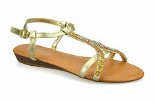 Womens Ladies Low Flat Wedge Heel Slingback Buckle Summer Sandals Shoes Size UK 5 Gold