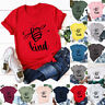 Womens Holiday Bee Summer Short Sleeve Shirt Tee Pullover Ladies Blouse Tops