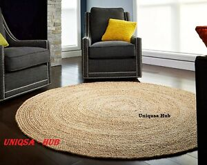 rug 100% natural jute braided handmade reversible round outdoor rug decor rugs