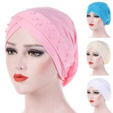 Women Beads Elastic Turban Hat Muslim Cancer Chemo Cap Hijab Head Wrap Clever
