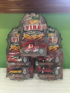 LOT OF 5 RARE HOT WHEELS FIRE DEPARTMEMT RODS 69 EL CAMINO 57 CHEVY 40 FORD