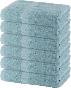 100% Ring Spun Cotton Bath Towels Set, White 6 Pack 22x44- Highly Absorbent