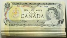1973 Canada $1 Dollar Bundle Lot of 100 Consecutives Crow Bouey #11599