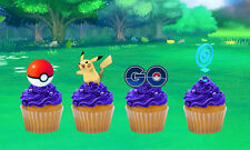 POKEMON GO FUN BIRTHDAY EDIBLE STAND UP CAKE CUPCAKE TOPPERS PREMIUM WAFER CARD