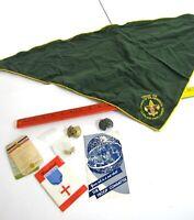 1960s Boys Scout Lot Lutheran Handbook Registration Job Card Pins Scarf Holders