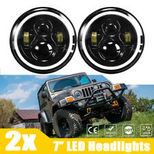 "Pair 7"" Inch Round LED Headlights Halo Angel Eye DRL For Jeep Wrangler JK TJ CJ"