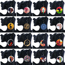 Women African Natural Round Wood Printed Earrings Hook Woman Lady Fashion New