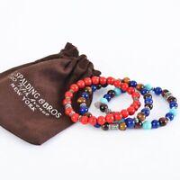 Bracciale Spalding & Bros pietre naturali gioiello braccialetto con elastico ...