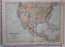 1891 Antiguo Mapa México ~ Estados Unidos América Central Cuba Jamaica New York