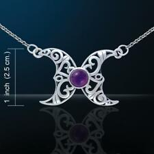 Blue Moon Wicca Necklace with amethyst glass pagan Peter Stone Just Like Silver