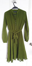 River Island Moss Green Tea Dress Midi Retro Pin Up Vintage 30s 40s Size 8 10