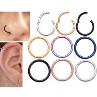 1x Hinged Segment Ring Surgical Steel Body Nose Hoop Earring Labret Septum Ring