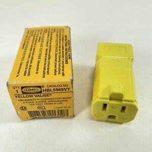 HUBBELL HBL5969VY CONNECTOR BODY FEMALE 2 POLE 3 WIRE 15A 125V 777
