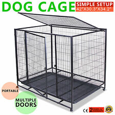 """42"""" DOG CRATE KENNEL PET CAGE CARRIER BOX 2 DOOR CAR TRAVEL LARGE EXTRA HOT"""