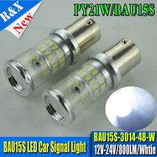 2xBAU15S PY21W LED FRONT TURN SIGNAL LIGHT BULB  White 3014 SMD AC 12V 24V 800LM