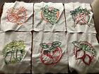 """VINTAGE Cotton QUILTING SQUARES/BLOCKS EMBROIDERED/Veggies 7""""x 8.5"""" LOT OF 6"""