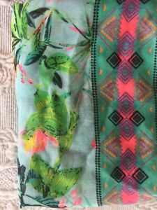 Infinity Scarf Hawaiian Colorful Print w/ Tassels 100% Polyester Plants Floral