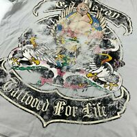 Ed Hardy Mens Graphic Cotton Polo Shirt Sz 2XL Short Sleeve Gray H13