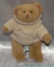 "Retired RUSS Plush 7"" Golden Brown HEARTWARMER JOINTED BEAR w/Cream Sweater"
