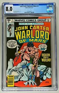JOHN CARTER, WARLORD OF MARS #3 CGC 8.0 WP VF (MARVEL 1978) 🔑GIL KANE ART  🔥
