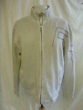 Mens Cardigan - FCUK, size L, stone colour, raw seams, zip up, cotton, used 1810