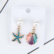 Girls Sea Shell Starfish Ear Stud Asymmetry Earrings Fashion Jewelry Summer