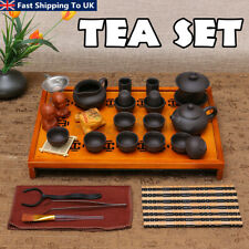 Chinese Kung Fu Tea Set Drinkware Tea Ceremony Purple Clay Teapot Cup +Wood Tray