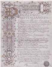 """""""DECALOGO dell'ITALIANO""""  - per l'Italia Nostra  cart. doppia"""