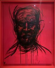 Adam Neate Large Elms Original Black & Red Portrait Painting Signed + Banksy Pic