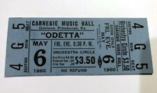 ODETTA Concert Ticket Stub UNUSED May 6, 1960 CARNEGIE PITTSBURGH PENNSYLVANIA