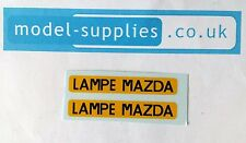French Dinky 25B Peugeot Van Reproduction Transfer Set Lampe Mazda