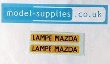 French Dinky 25B Peugeot Van Reproduction Transfer Set Lampe Mazda