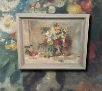 Signiertes Blumen Stillleben. Original altes Ölgemälde im Originalrahmen. Ölbild