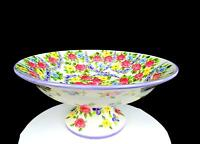 "TABLETOPS UNLIMITED PORCELAIN SPRING CHINTZ LARGE 15 3/8"" FOOTED PEDESTAL BOWL"