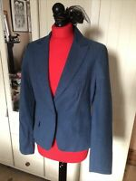 ORSAY Ladies Blue Linen Cotton Blend Smart Tailored Blazer Jacket Size 10 NEW