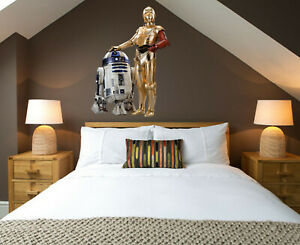 3D Star R2D2C3PO Wars Robots Droids Childrens Wall Stickers Bedroom Decal