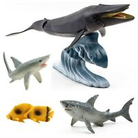 Marine Animal Play Set 6 Piece - Whale, Sharks, Fish, Wave Stand Sea Toys TA-10